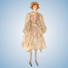 Great 18 Inch 1920's Needle Sculpted Embroidered and Painted Silk Crepe Flapper with Long Legs Heels Seamed Stockings Carrot Floss Bun Cloche Hat