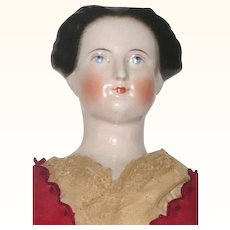 23 Inch Kestner 1850's Pink Tint China Lady with Bun Exposed Ears Brush Strokes  and Commercial Linen Body with Leather Arms