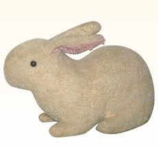 9 Inch Early  Straw Stuffed Short Cream Mohair Coated Crouching Rabbit Pink Inner Ears