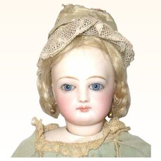 14 Inch 1860's French Fashion Great Kid Body and Face with Bee Stung Lips  Blue PW Eyes Original Blond Wig Pate