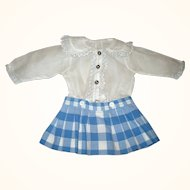 Old White and Blue Linen School Girl Blouse with Button on Skirt for German Character or Schoenhut Doll