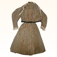 19th Century 2 Piece Brown Check Home Spun Linen Costume for China or Papier Mache Doll