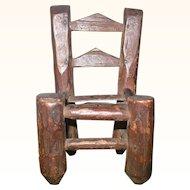 4 Inch 19th Century Primitive North Carolina Miniature Slat Back Chair