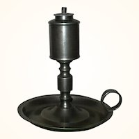 6 Inch 1830's Roswell Gleason Pewter Whale Oil Chamber Lamp