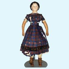 18 Inch American Muslin Lined Shoulder Head Doll All Original Fragile Dress Nice Key Stone Boots