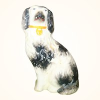 4 Inch 1860's Black on White Left Facing Staffordshire Spaniel