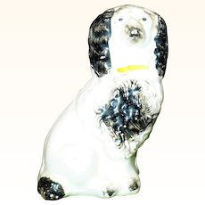 4 Inch 1860's Right Facing Black on white Curly Coated Staffordshire Spaniel