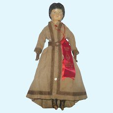 """Fine 18"""" American Muslin Lined Papier-mache Doll Original Linen Body and Costume 2 Exhibitor Ribbons"""