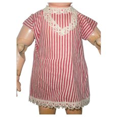 Red and Ivory Factory Shift for Small Antique Doll