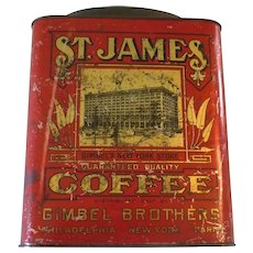 Circa 1900 5 Lb Red Lithograped  St James Coffee Tin Bail Handle Gimbels - Red Tag Sale Item