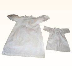 "13.5 Inch 19th C Hand Stitched Homespun Linen Night Shirt for China or Fashion + 7.5"" Shift"