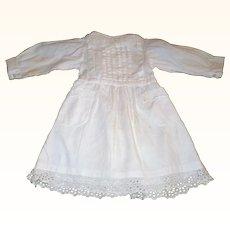 17 Inch White Ribbed Linen Edwardian Doll Dress Pockets Back Interest