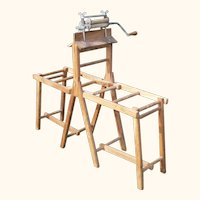Late19th or Early 20th Century Child Size Salesman Sample Folding Wash Bench with Wringer