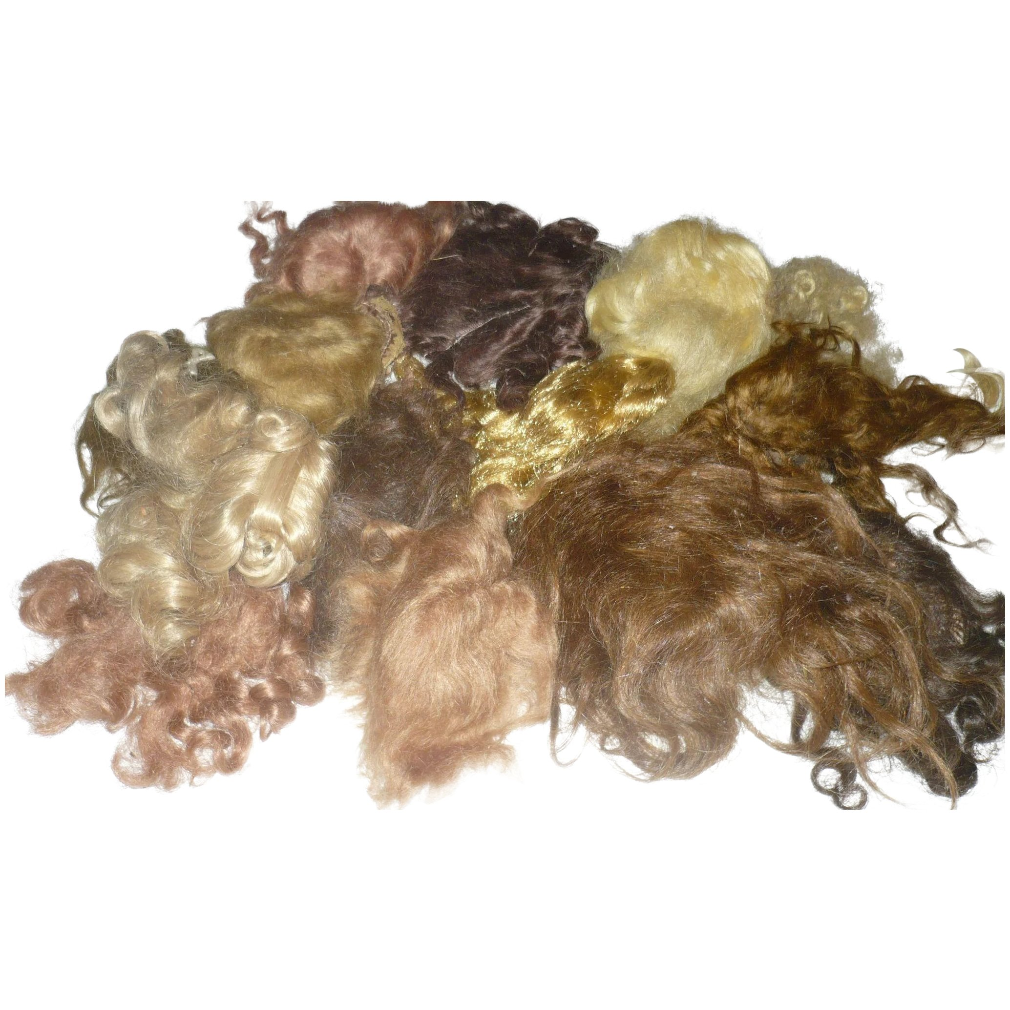 14 Old Doll Wigs For Repair Or Doll Wig Making Americana Whimsy Ruby Lane