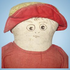 11 Inch 19th C American Linen Doll with Ink Drawn Features Turkey Red Bathing Costume