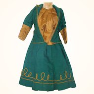 19th Century French Fashion 2 Piece Jacket Dress Green Wool Gold Cording Gold Silk Under Blouse