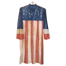 Vintage Patriotic Red White Blue Glazed Cotton Liberty Independence Dress / Robe