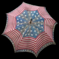 Old Patriotic Red White Blue Stripes Stars Parade Parasol
