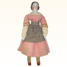 19 Inch 1850 Covered Wagon China Blue Eyes Linen Body China Arms Frail Early Dress