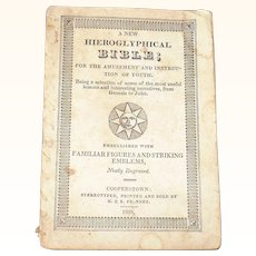 1839 Hieroglyphical Bible For The Amusement  And Instruction Of Youth by H.& E. Phinney Cooperstown NY