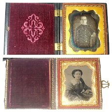 2 Mid 19th Century Photo Images in Folding Cases Young Man Daguerreotype in Union Case Woman in Leather Covered Case