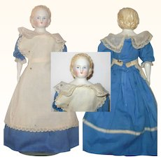1860's Blond China 12 Inch Alice Shoulderhead Hair Band Linen Body Glazed Spoon Arms Black Flat Sole Boots