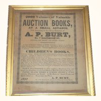 Framed 1849 Advertising Book Auction Broadside for A.P. Burt Book Seller Baltimore Maryland