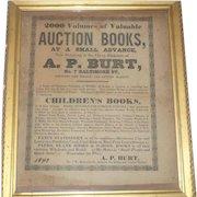 Framed 1849 Advertising Book Auction Broadside for A.P. Burt Book Seller Baltimore Maryland