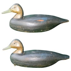 2 Signed New Jersey 1920's Thomas Lockhart Hollow Carved Wood Black Duck Decoys