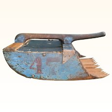 Classic 1900 NJ Pinelands Cranberry Scoop in Old Blue Paint with Carved Name, Initials and Red Number Stamp