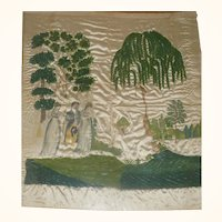 Early 19th Century American Water Colored and Embroidered Silk Mourning Picture