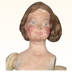 16 Inch Cold Painted  Pottery  Art Doll with Character Face Ball Jointed Arms Straight Legs Shattered Hips Braided Wig