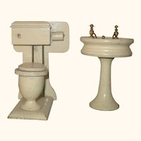 Old Ivory Painted 4.5 Inch High Back Toilet with Paper Holder and 4.25 Inch Pedestal Sink with Intact Faucets