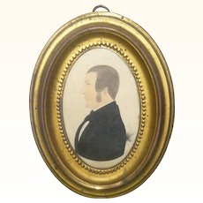 1840-1850 Water Color and Ink Profile of Man with Side Burns in 5.5 Inch Gold Tone Metal Frame from Salem County NJ