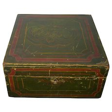 8 Inch Square Folk Art 19th Century Paint Decorated Green Wood Sewing Box Marble Paper Interior
