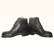 5 Inch Cobbled Walnut Leather 5 Hole High Top Shoes with Heels for Large Cloth or Kid Body Doll