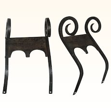 18th Century Smith Forged Iron Rams Head & Shield Boot Scraper from Pennsylvania or New Jersey