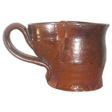 1860 Pennsylvania Hand Thrown Manganese Glazed Shaving Mug with Brush Cup and Curvy Strap Handle