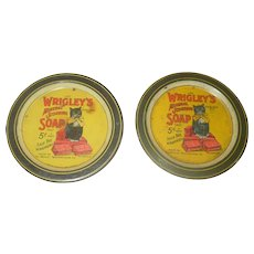 """2 Wrigley's 3.5"""" Lithographed Round Trays with Wrigleys Black Cat Mascot"""
