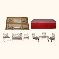 7 Piece Parlor Set Heart Motif Adrian Cooke Pat Stamp 1895 DH Soft Metal Furniture Original Red Box