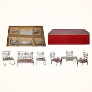 7 Piece Parlor Set Heart Motif Adrian Cooke Pat Stamp 1895 DH Soft Metal Furniture Original Red Box