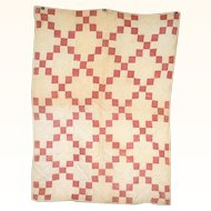 Hand Stitched 40 Inch x 28 Inch Brown on Red Print and Ivory Pieced NJ 19th C Crib Quilt with Cat and Mouse Print Back