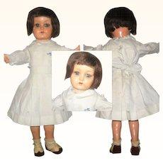 16 Inch1940 Muneca Marilu Argentina in Original Bob Wig School Girl Uniform Underwear and Shoes