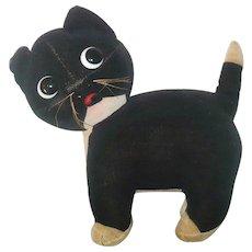 Chubby Black  and Cream Velvet Kitten with Big Blown Glass Googly Eyes