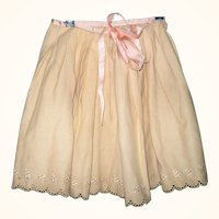 Champagne Embroidered Wool Flannel  Winter Petticoat Pink Satin Ribbn Waist and Ties
