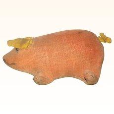 5.5 Inch Long Peach Velvet Mennonite Pig with Bead Eyes Flipper Legs Painted Mouth Gold Velvet Ears Tail