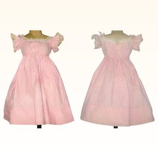 15.5 Inch Hand Stitched 1860's Pink Check Linen Dress Low Neck Short Flared Sleeves for China or Papier-Mache