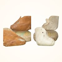 2 Old Pair of Leather Toddler Doll Booties 1.5 Inch Ivory 2 Inch Tan