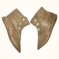 4.5 Inch 3 Button High Carmel Flat Sole  Boots for Greiner or Rag Doll