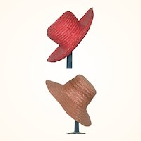 2 Old Woven Straw Hats with High Crowns Wide Brims